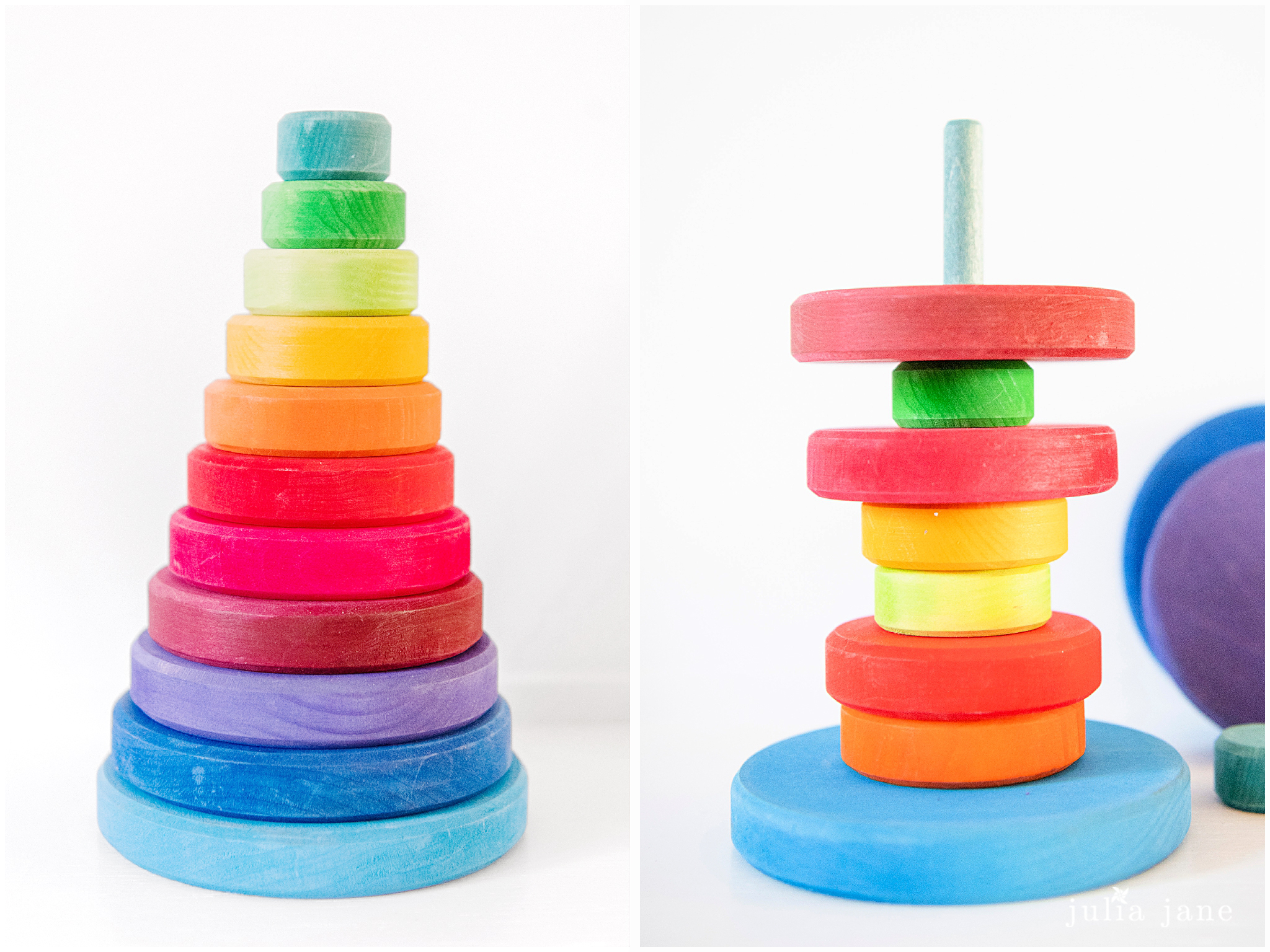wooden rainbow stacking tower for toddlers